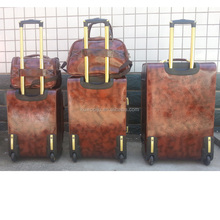 brown leather golden color travel royal trolley luggage