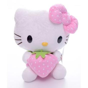 Pink girl bowknot hello kitty cat plush