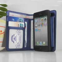 Mobile phone case with ID cash card slot blue leather phone wallet for iphone 5 6 plus hand bag with phone holder wholesale