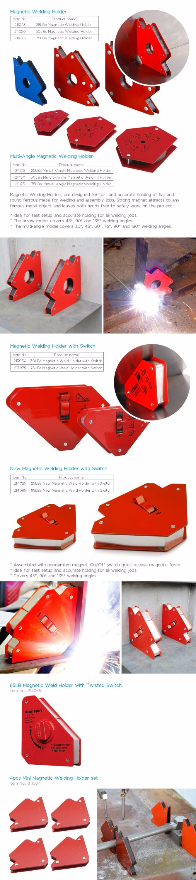 CE Standard Super Power 75LBS Red Arrow Magnetic Welding Holder With Hole