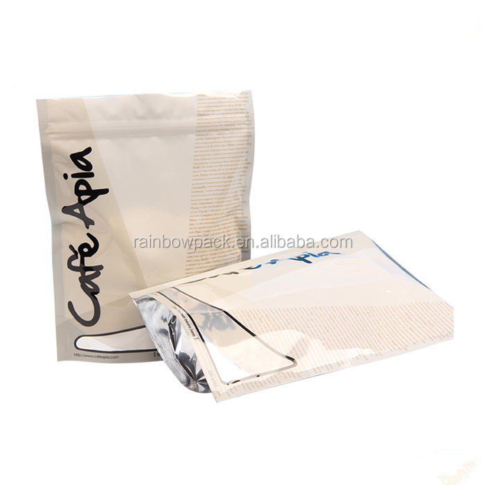 Recycle Tea Bag With Screen And Window / Stand Up Tea Bag With Zipper / Reclosable Tea Pouch Packing With Ziplock