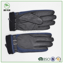 Trending Men's Denim Gloves Leather Warm Winter Gloves with Belt