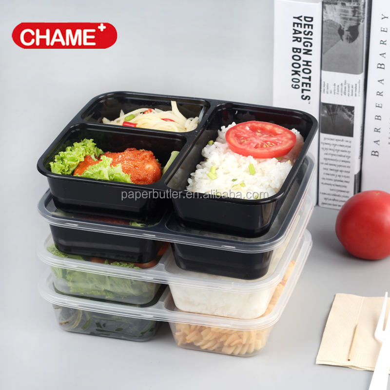 Food Microwave Safe black Plastic Food Container 3 Compartment PP Plastic Bento Box