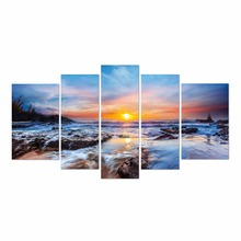 Amazon Hot Sell 5 Panel seascape canvas print wall art for home decoration