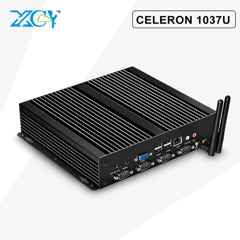 XCY Fanless industrial panel Celeron C1037U Media Center 8g ram 128g ssd with 300M WIFI 8 usb 4 RS232