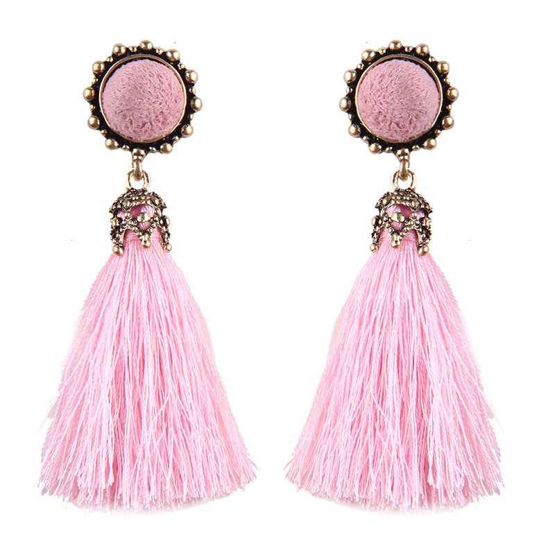 Fashion China Wholesale Bijoux Ladies Jewelry Cotton Tassel Earring Designs Earrings for Women