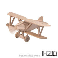 3d wooden puzzle DIY toy plane gun
