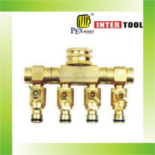"3/4""-1""brass 4-way shut off coupling with valve"