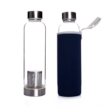 550ml heat resistant glass fruit tea bottle with sleeve and infuser