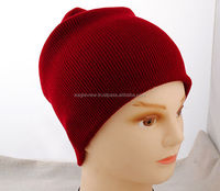 Maroon Unisex Men Women Solid Color Warm Cuff Plain Acrylic Knit Ski Beanie Skull Hat