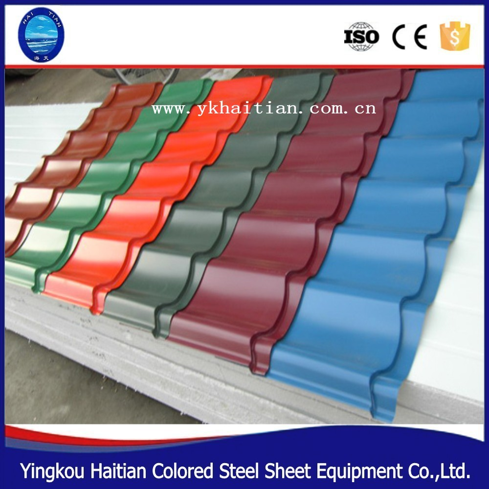Popular villa roofing tiles Prepainted galvanized corrugated metal roofing tile