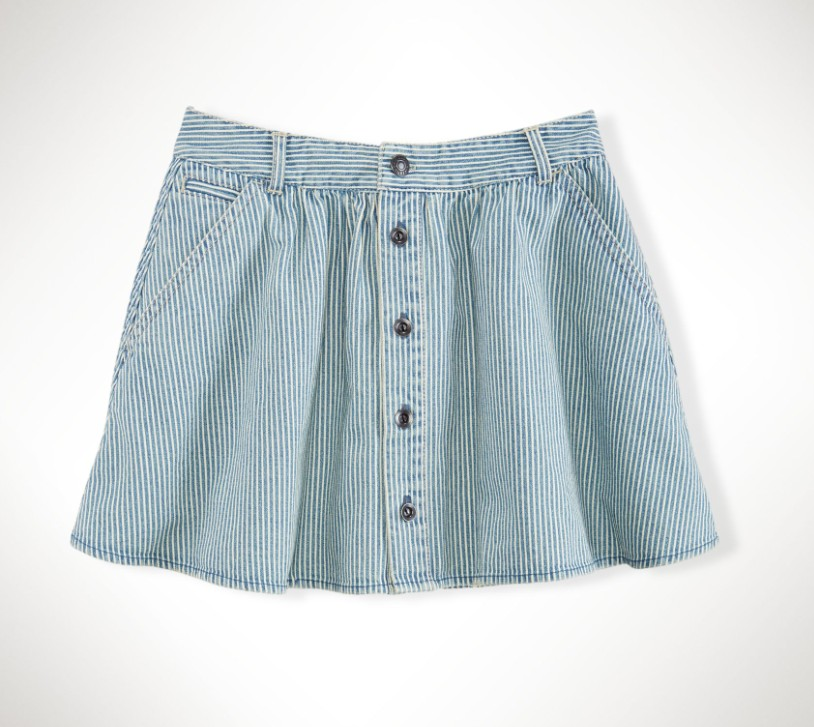 Children Girls Striped Cotton Denim Skirt ( 7-16years)