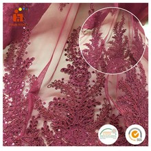 French Net Lace fabric latest cord rope embroidery african purple sequin crystal mesh fabric