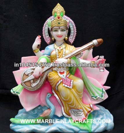 Seated Saraswati Statue Playing the Veena