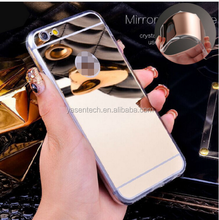 rose gold Luxury mirror phone case Electroplating Soft Clear TPU Cases For iphone 7 7 plus Cover Bags