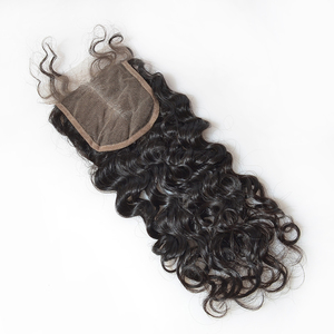 Wholesale brazilian grey hair top closure human hair,cheap deep wave closure bundles,human hair free parting front lace closure