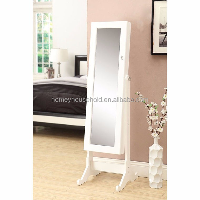 Mirrored home furniture floor standing small jewelry cabinet wooden furniture