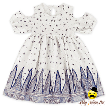 New Model Design Breathable Cotton Children Off Shoulder Vintage Baby Girl Summer Dress