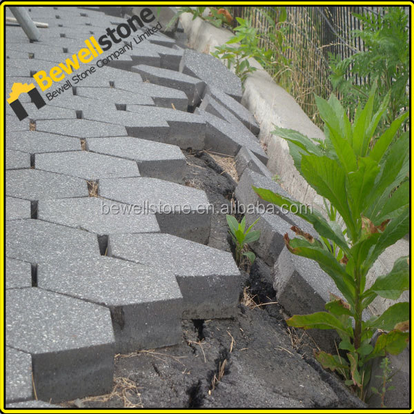 Precut flamed surface g654 gray hexagonal granite stone pavers