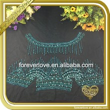 Handwork green bridal applique beaded crystal embellished rhinestone embroidered fabric FHA-062