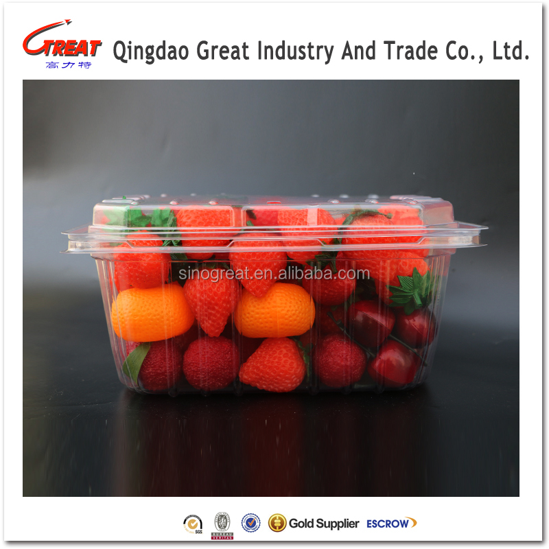 Strawberries Plastic Clear Disposable Fruit Packaging Container
