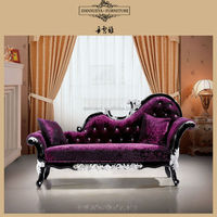 Elegant Luxury Baroque Chaise Lounge , Purple Color Living Room Furniture