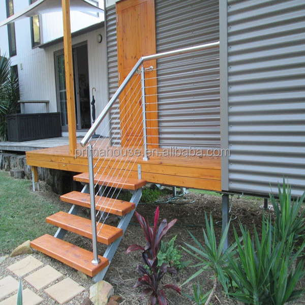retractable cable system / outdoor metal handrail for steps