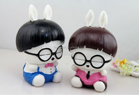 Custom plastic coin bank,cartoon figure rabbit piggy decorating bank ,OEM plastic money saving bank
