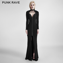 Q-301 European Style Plain Long Sleeve Black Sexy Open Chest Mermaid Evening Dress