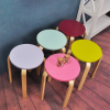 Durable coloful solid wood round stool for kids