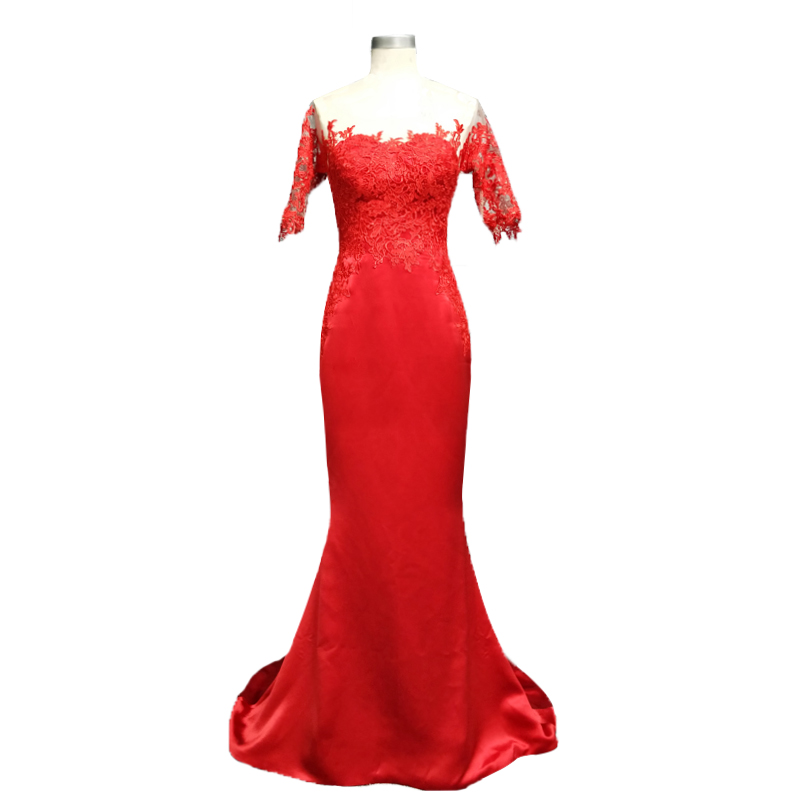 Women Red Evening Dresses 2018 Ladies Long Gowns Mermaid Sheer Neckline Sweep Train Dress Evening Wear with Sleeves