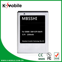 BRAND NEW BATTERY EB494358VU Battery FOR SAMSUNG GALAXY ACE S5830 GT-S5830 Battery 1350mAh