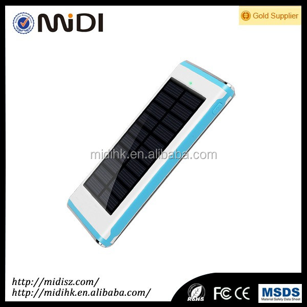 solar power bank case with led light support logo paint FC CE RoHS Certification for gift