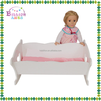 Doll house furniture toy mini white wooden square bed TYDF001-W