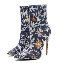 ladies floral denim boots women high heel boots tube