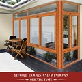 aluminium 4 panel brown color blue tinted glass sliding window