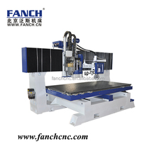 Table moving cnc machine with aggregate boring head and drill bank
