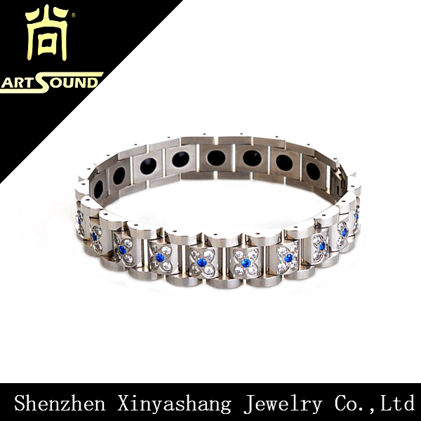 Fashion jewelry nickel free health germanium titanium steel bracelet magnetic bracelet