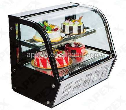 Curved glass cake display refrigerator showcase with luxury style