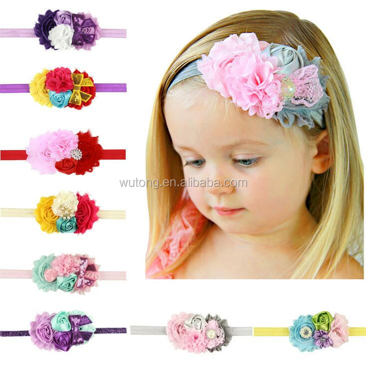 8 Colors Fashion Hot Children Kids Baby Girls Rhinestone Pearl Chiffon Flowers Headbands Sequin Bows Hair Accessories
