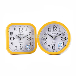 Hot selling yellow plastic bedside small table clock