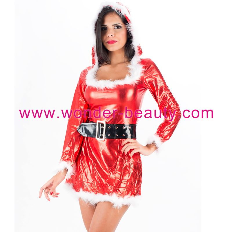 <strong>Sexy</strong> Women's Santa Adult Christmas Dresses Hoody Dress with Belt Free shipping