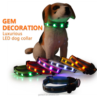 Hot selling luminous dog led collar night safety collar gem decorative led dog collar
