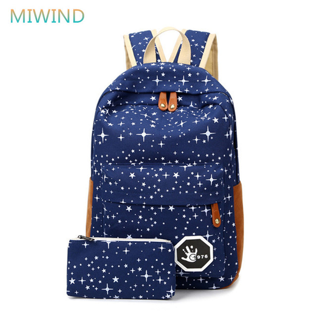 MIWIND Hot Sale Canvas Women backpack Big Capacity School Bags For Teenagers Printing Backpacks For Girls Mochila Escolar CB189