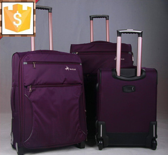 nylon or polyester soft trolley luggage bag trolley case carry on suitcase spinner wheels