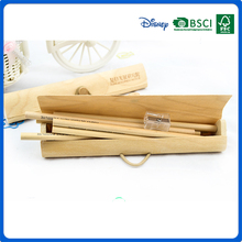 oem cute wooden color pencil and sharpener stationery set for school