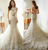white elegant scoop neck backless lace wedding gowns and bridal dress