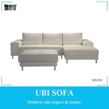 Modern design genuine leather corner sofa with ottman MY020 LUCAS