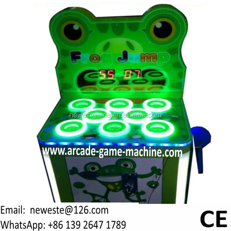 maquinas de juego Frog Jump Iron Metal Cabinet Coin Operated Hammer Hit Frog Game Machine For Kids In Shopping Mall