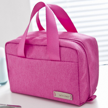 Solid color portable oxford fabric tote women cosmetic bag